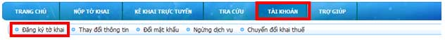 ChonNutDangKyToKhai Hướng dẫn thủ tục kê khai thuế qua mạng (P1)