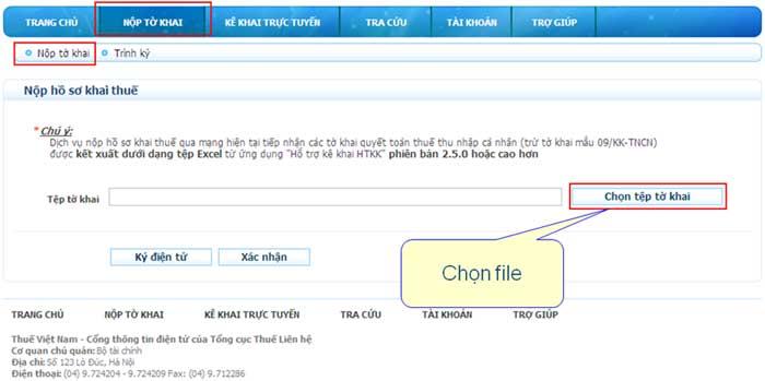 ChonTepToKhaiNopQuaMang Hướng dẫn thủ tục kê khai thuế qua mạng (P1)