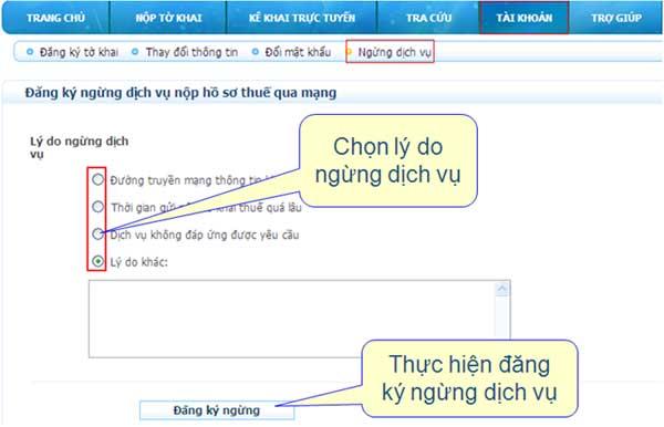 DangKyNgungDichVu1 Hướng dẫn thủ tục kê khai thuế qua mạng (P2)