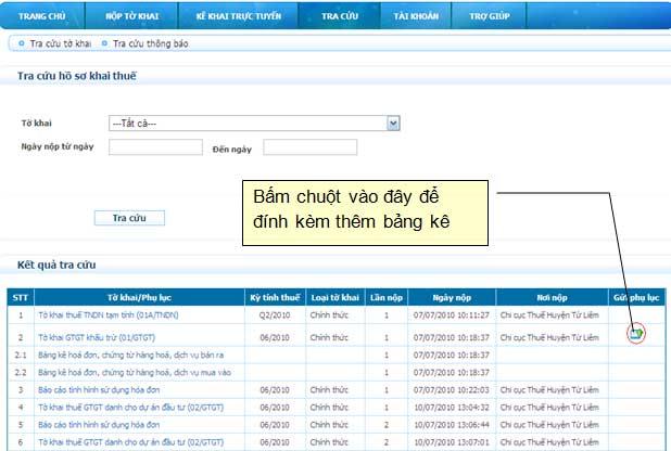 DinhKemBangKe Hướng dẫn thủ tục kê khai thuế qua mạng (P2)