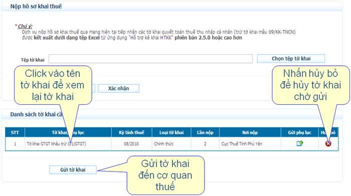 GuiBangKeXemXoa Hướng dẫn thủ tục kê khai thuế qua mạng (P2)
