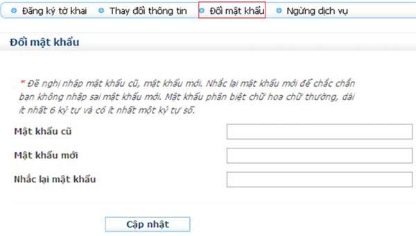 ManHinhDoiMatKhau Hướng dẫn thủ tục kê khai thuế qua mạng (P1)