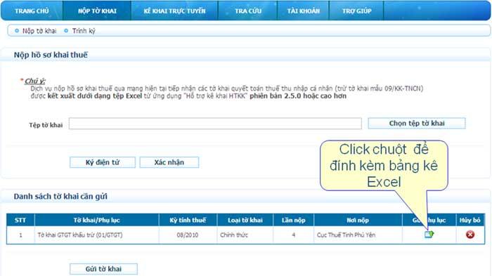 NopHS DinhKemBangKe Hướng dẫn thủ tục kê khai thuế qua mạng (P2)