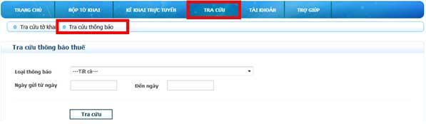 TraCuuLaiThongBaoCQTGui 1 Hướng dẫn thủ tục kê khai thuế qua mạng (P2)