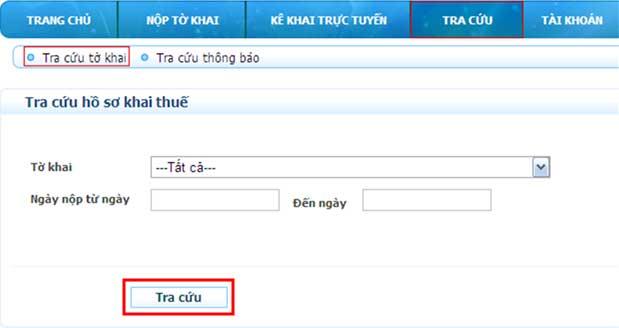 TraCuuToKhai1 Hướng dẫn thủ tục kê khai thuế qua mạng (P2)