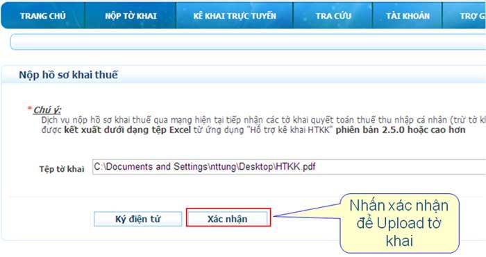 XacNhanTaiFileOffline Hướng dẫn thủ tục kê khai thuế qua mạng (P2)