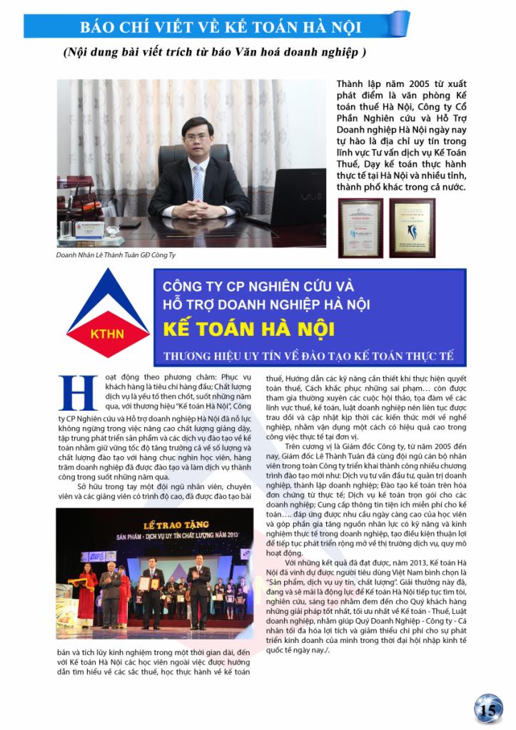 bai 1 Báo Văn hóa doanh nghiệp nói về Kế toán Hà Nội