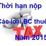 thoi han nop cac loai bao cao thue nam 2015