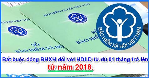 bhxh2018 HĐLĐ từ đủ 01 tháng trở lên phải đóng BHXH bắt buộc năm 2018
