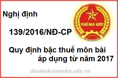 Nghi dinh 139 2016 quy dinh bac thue mon bai Nghị định 139/2016/NĐ CP quy định Thuế môn bài từ 2017