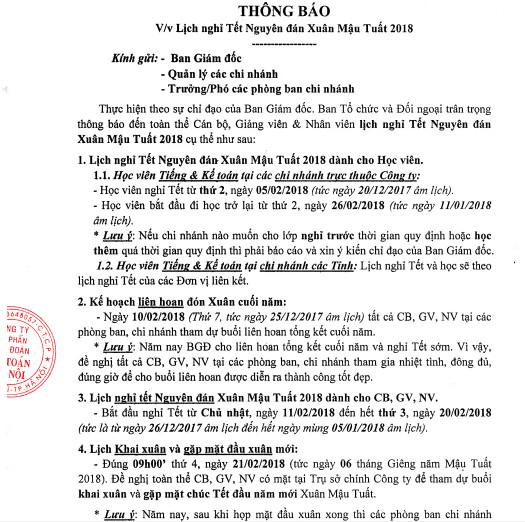 lich nghi 1 Thông báo lịch nghỉ tết nguyên đán Mậu Tuất   Kế toán Hà Nội