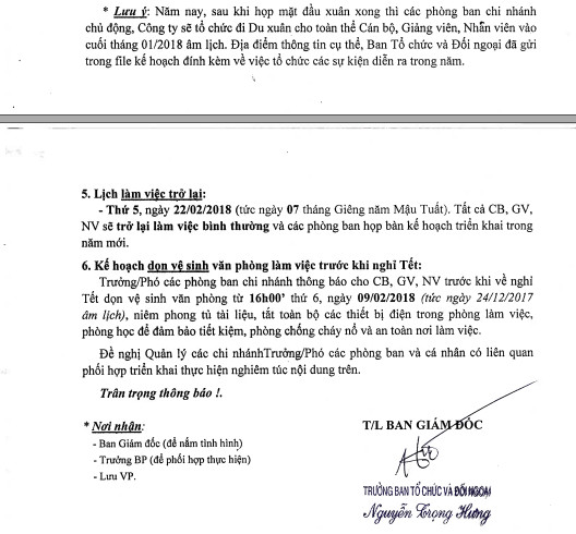 lich nghi 2 Thông báo lịch nghỉ tết nguyên đán Mậu Tuất   Kế toán Hà Nội