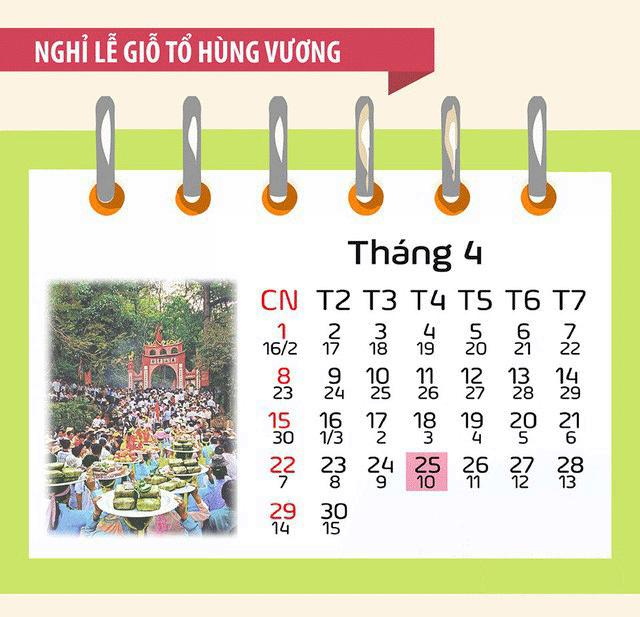 nghi le10 3 Lịch nghỉ lễ giỗ tổ Hùng Vương và 30/4, 1/5/2018