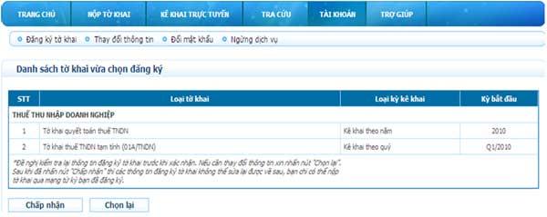 ChapNhanDanhSachTKDKThem Hướng dẫn thủ tục kê khai thuế qua mạng (P2)
