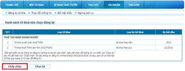 ChapNhanToKhaiDaDangKy Hướng dẫn thủ tục kê khai thuế qua mạng (P1)