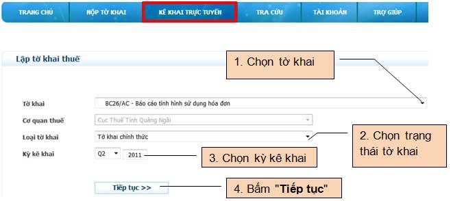 ChonToKhai KhaiOnline Hướng dẫn thủ tục kê khai thuế qua mạng (P1)