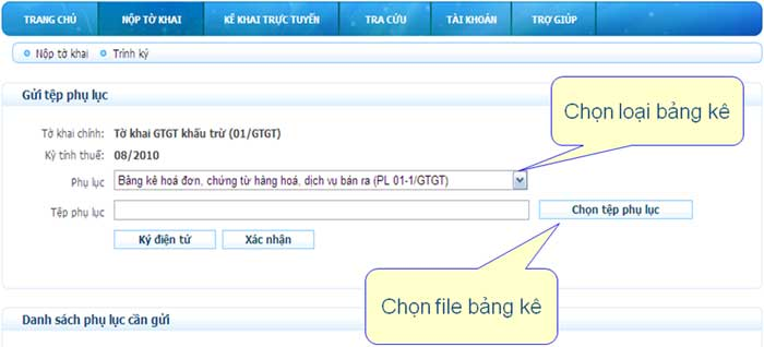 ChonVaTaiBangKe Hướng dẫn thủ tục kê khai thuế qua mạng (P1)