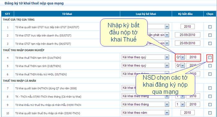 DangKyChonToKhai1 Hướng dẫn thủ tục kê khai thuế qua mạng (P2)