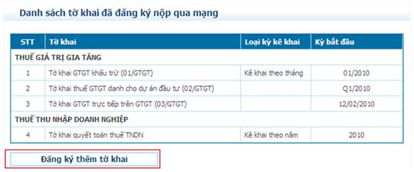 DanhSachDangKyThemToKhai Hướng dẫn thủ tục kê khai thuế qua mạng (P2)