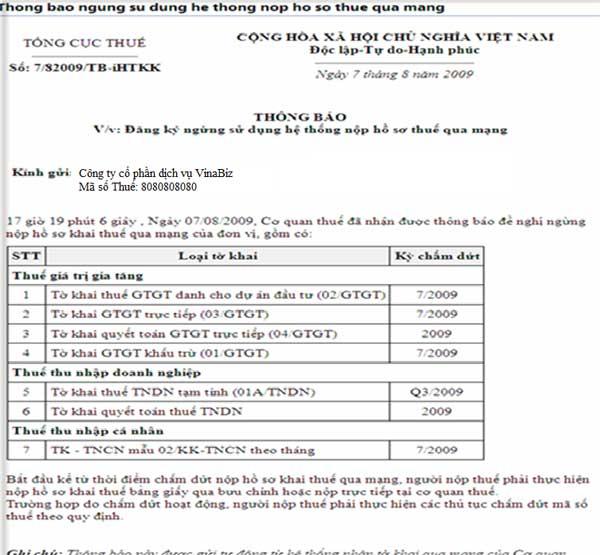 ThongBaoNgungSuDung Hướng dẫn thủ tục kê khai thuế qua mạng (P2)