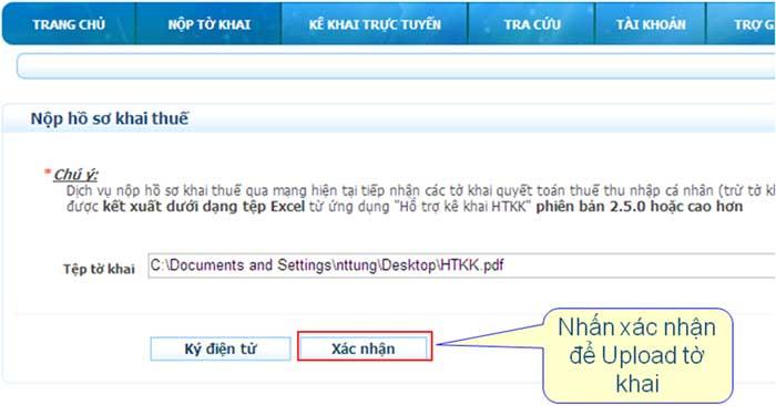 UpLoadToKhaiDienTuDaKy Hướng dẫn thủ tục kê khai thuế qua mạng (P1)