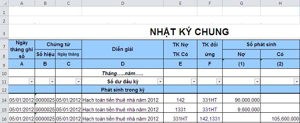 1 Cách ghi sổ Nhật ký chung trên Excel