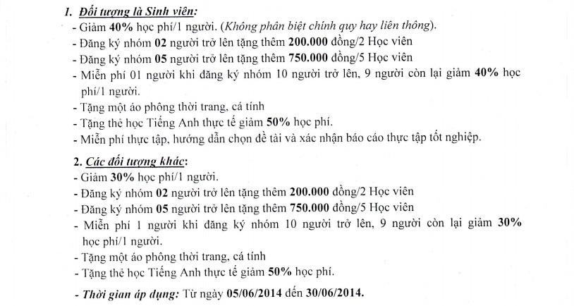 Uu dai hoc phi Ngày hè sôi động giảm 40% học phí tại Hà Nội