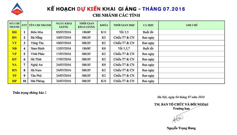 Licht7 Lịch KG khóa kế toán tổng hợp tại các tỉnh tháng 7 2016