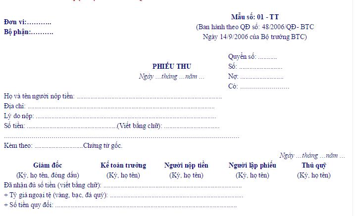 mau phieu thu qd48 Mẫu phiếu thu tiền mặt theo QĐ 48 và TT 200 mới nhất