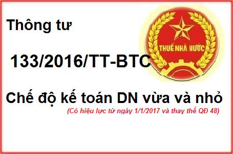 thong tu 133 2016 Thông tư 133/2016/TT BTC hướng dẫn chế độ kế toán DN nhỏ và vừa