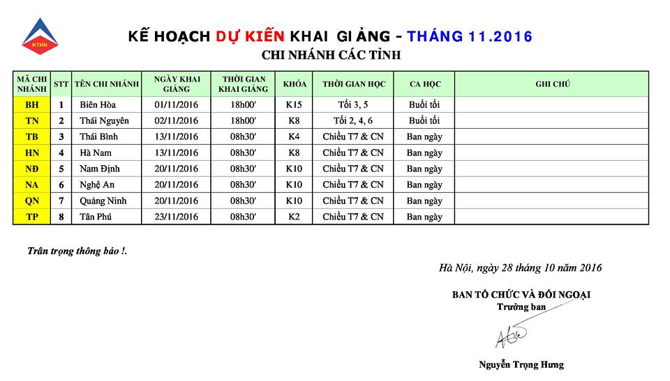 lich kg 11 Lịch khai giảng khóa học kế toán tại các tỉnh tháng 11/2016
