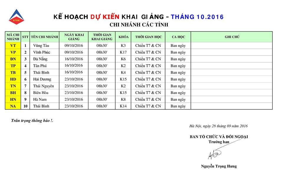 lich kg tinh t10 Lịch khai giảng các tỉnh tháng 10 2016