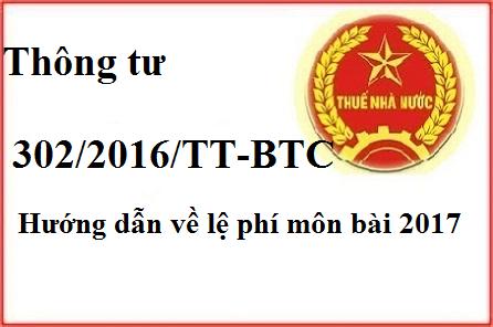 thong tu 302 Thông tư 302/2016/TT BTC hướng dẫn về lệ phí thuế môn bài